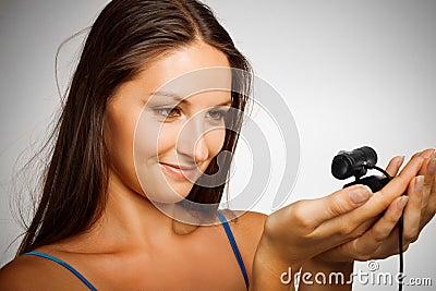 Pretty girl with web camera