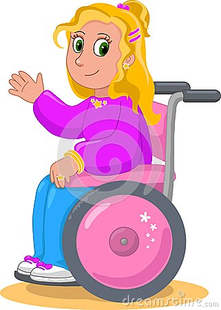 Pretty girl on wheelchair vector