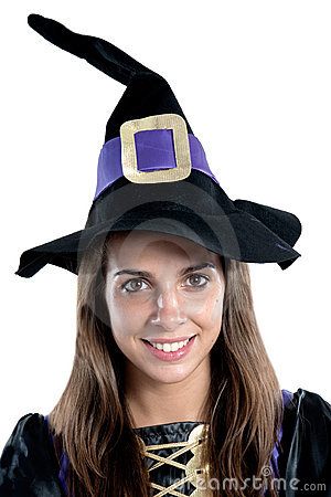 Pretty girl with witch costume