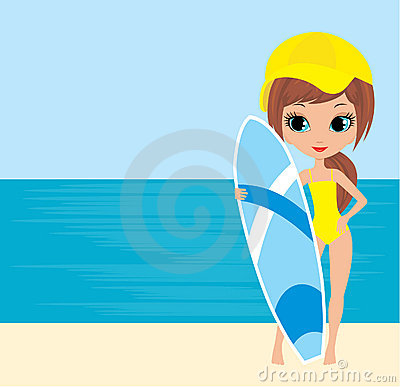 Free Pretty Girl With A Surfboard Stock Photo - 21539270