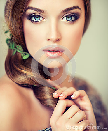 Free Pretty  Girl With Big Beautiful Blue Eyes. Royalty Free Stock Photography - 58934787