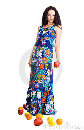 Free Pretty Girl With Fresh Fruits Holding An Apple Royalty Free Stock Images - 13062549