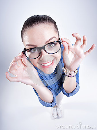 Free Pretty Girl With Perfect Teeth Wearing Geek Glasses Smiling Stock Photos - 31347503