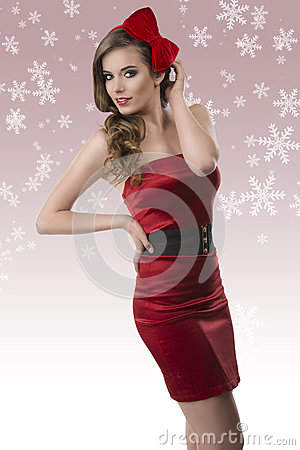 Free Pretty Girl With Red Dress And Hand Near The Head Royalty Free Stock Image - 27206176