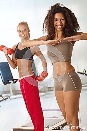 Pretty girls exercising