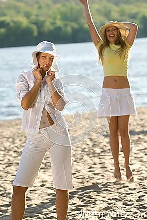 Pretty girls on summer beach