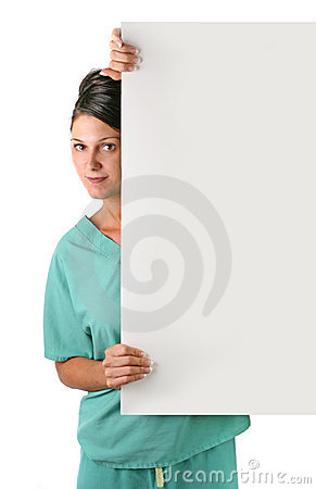 Pretty Health Care Worker Holding a Blank Sign