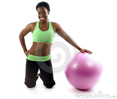 Pretty hispanic african american woman exercising