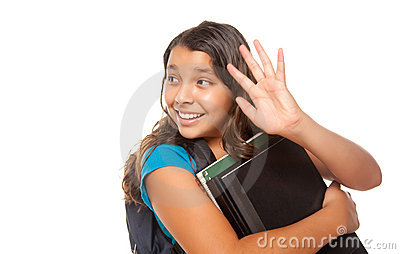 Pretty Hispanic Girl Waving with Books and Backpac