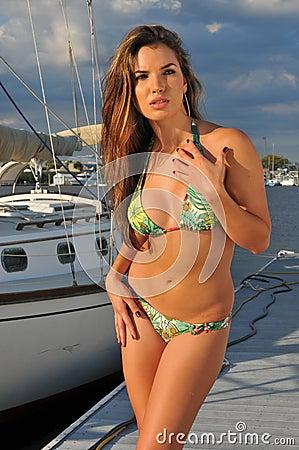 Free Pretty Hispanic Swimsuit Model Posing Sexy Stock Photography - 27858402
