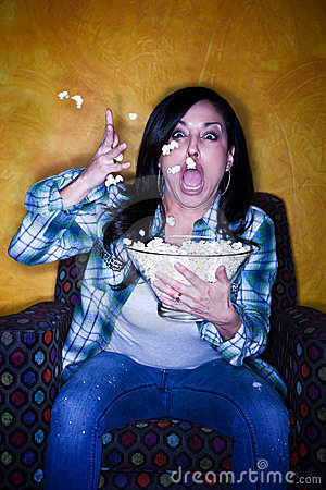 Pretty Hispanic Woman with Popcorn