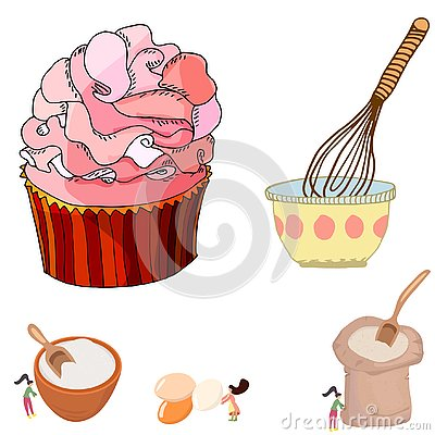 Pretty illustration of a big cupcake and women mixing ingredients Cartoon Illustration