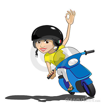 Pretty Scooter Girl Waves OK Illustration : Dreamstime