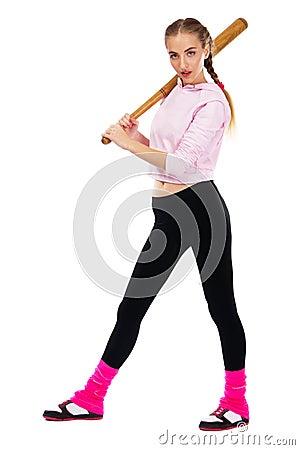 Pretty lady with a baseball bat