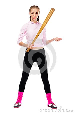 Pretty lady with a baseball bat