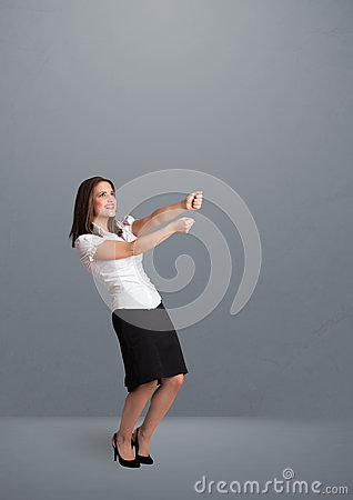 Pretty lady gesturing with copy space