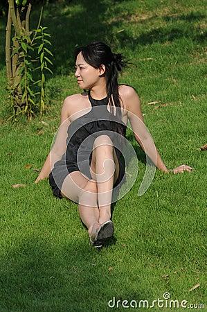 Pretty lady on grass