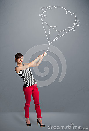 Pretty lady holding a cloud balloon drawing