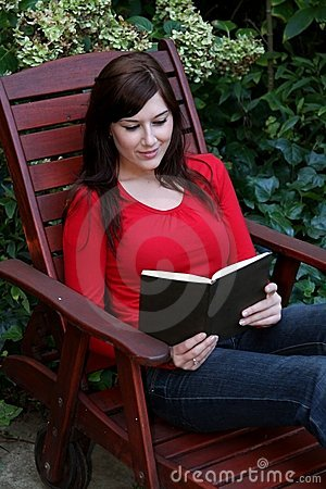 Pretty Lady Reading Book