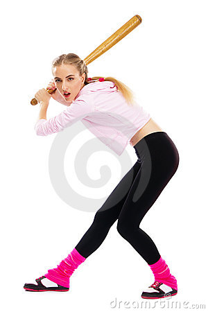 Free Pretty Lady With A Baseball Bat Stock Images - 20252684