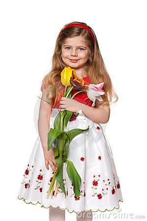 Pretty little girl with flowers