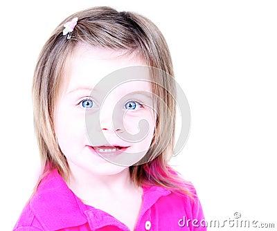 Pretty little girl high key portrait
