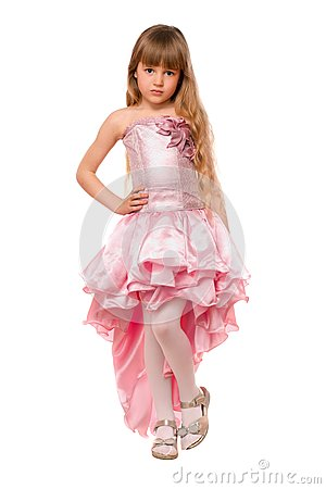 Pretty Little Girl In A Pink Dress Stock Photos - Image: 24719773
