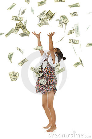 Pretty little girl throwing money