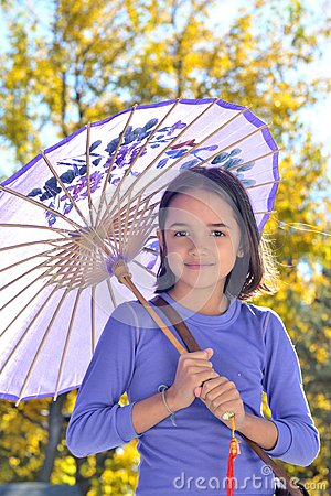 Free Pretty Little Girl With Parasol Royalty Free Stock Photo - 27803645