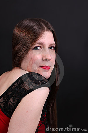 Pretty long haired brunette woman