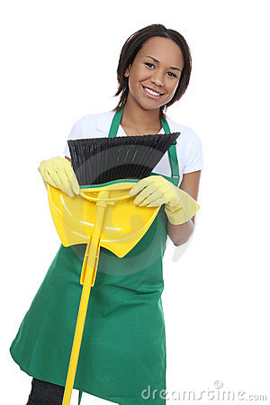 Pretty Maid Holding Broom