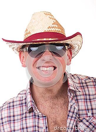 Pretty man with cowboy hat