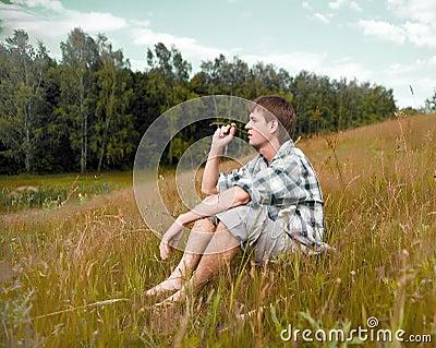 Pretty men on a meadow