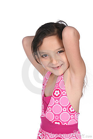 Pretty mixed race girl with arms raised
