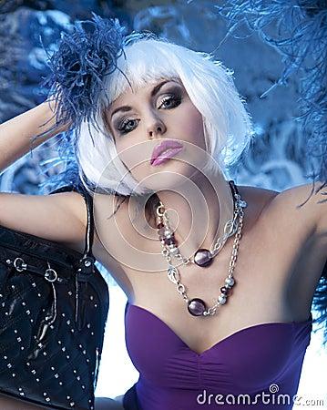 Pretty Model in Blue Light