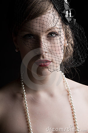 Pretty Model in Veil and Pearls