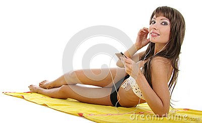 Pretty Model Wearing Black Bikini On White Stock Images - Image: 6835804
