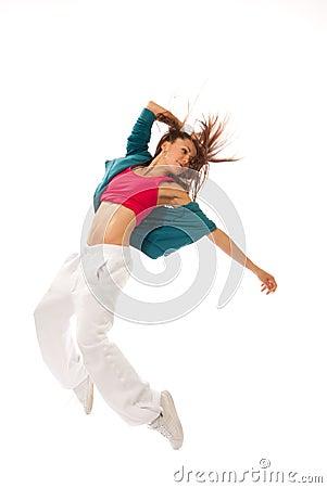 Pretty modern slim hip-hop style woman dancing