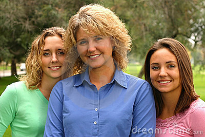 Pretty mother with daughters