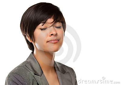 Pretty Multiethnic Girl Headshot with Eyes Closed