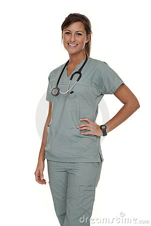 Pretty Nurse Wearing Scrubs