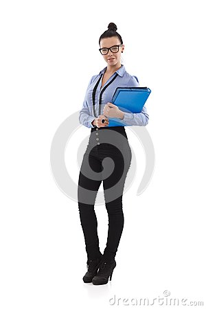 Pretty office worker holding folders