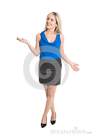 Pretty older isolated woman smiling and gesturing with her hands