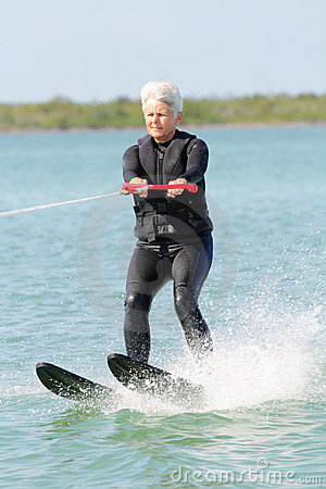 Free Pretty Older Lady Water Skiing Stock Photo - 19448200