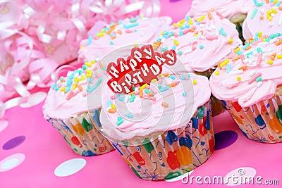 Pretty pink birthday cupcakes