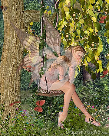 Pretty Pink Fairy Daydreaming on a Woodland Swing