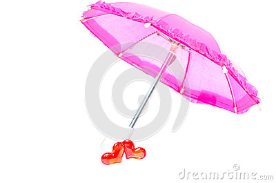 Pretty pink parasol with two hearts