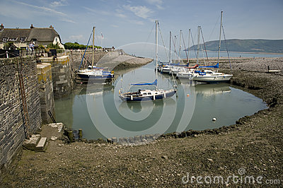 Pretty Porlock Weir, England Editorial Photo