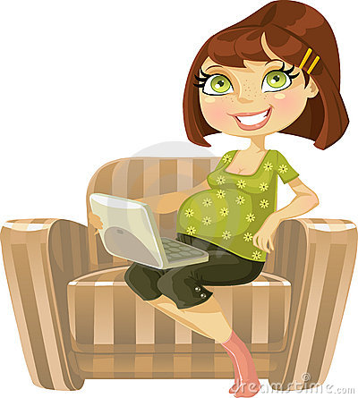 Pretty pregnant woman with laptop in armchair