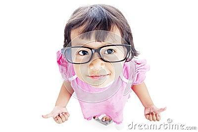 Pretty preschooler with thumbs-up